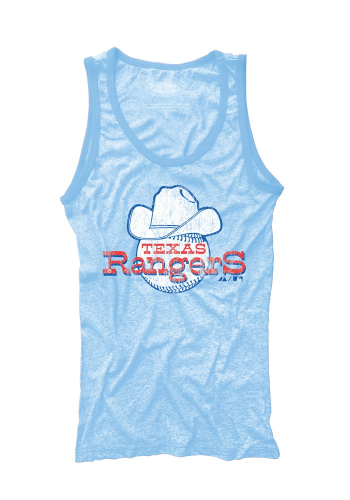Texas (TX) Rangers Women's Light Blue Retro Tri-Blend Contrast Tank by Majestic Threads $34.99 www.rallyhouse.com