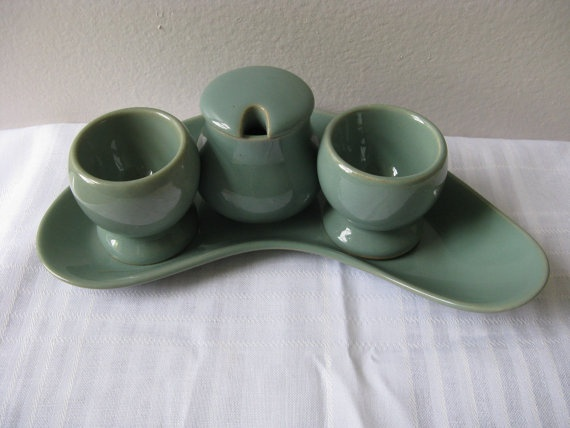 Vintage Denby Stoneware Manor Green Egg Cups Kidney Dish Mustard Pot Set Retro 70s 80s  pillowsophie.etsy.com $78
