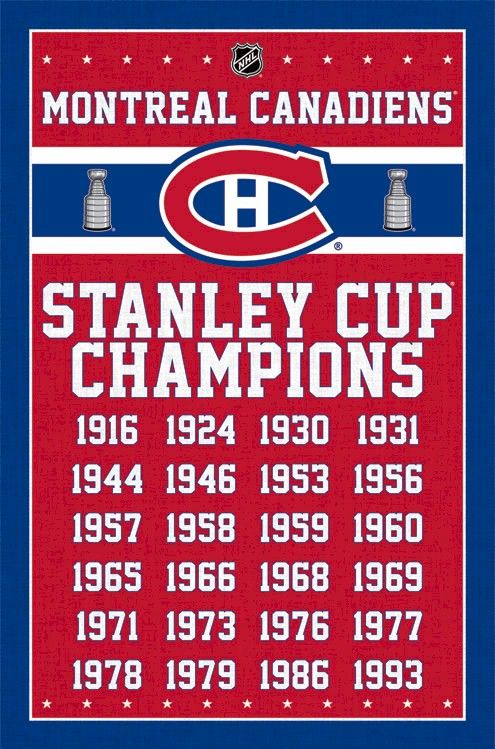 NHL - Montreal Canadiens - 24 Time Stanley Cup Champions 22x34 Hockey Sports Poster
