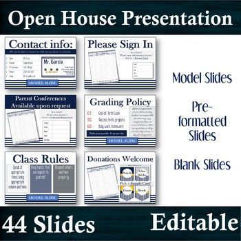 """A beautiful presentation for any Parent Meeting or even the first day of school.In this file:TWO Power Points and a PDF:[PP] FORTY-FOUR SLIDE EDITABLE PowerPoint Presentation:1) Model Slides with can be easily used by deleting the inserted """"Model"""" label.2) Pre-formatted slides with ready tables and color text boxes3) Blank Slides to adjust as needed.To select simply edit the slides desired and delete or """"hide"""" the slides undesired for this activity.[PDF] Specific, illustrated instructions to…"""