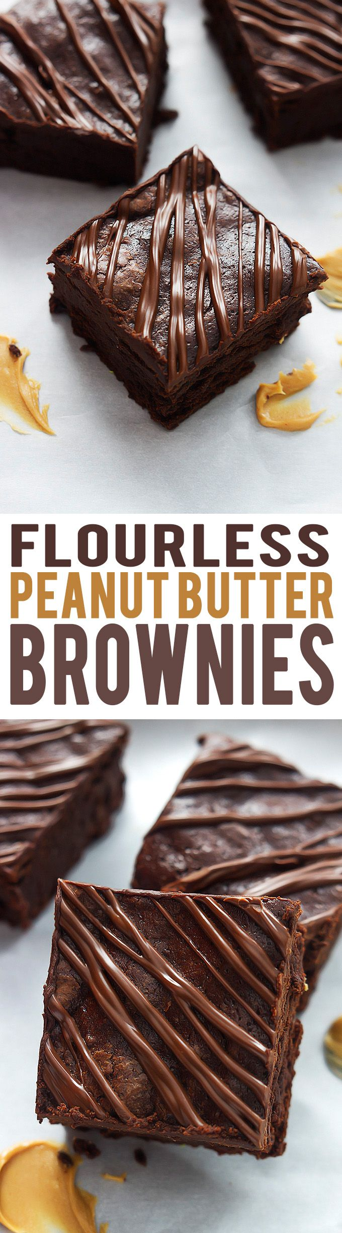Super fudgey Flourless Peanut Butter Brownies! | lecremedelacrumb.com - substitute the butter for earth balance.