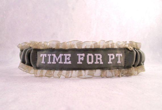 Military Time for PT Garter - Military Wedding Garter - Military Green garter.
