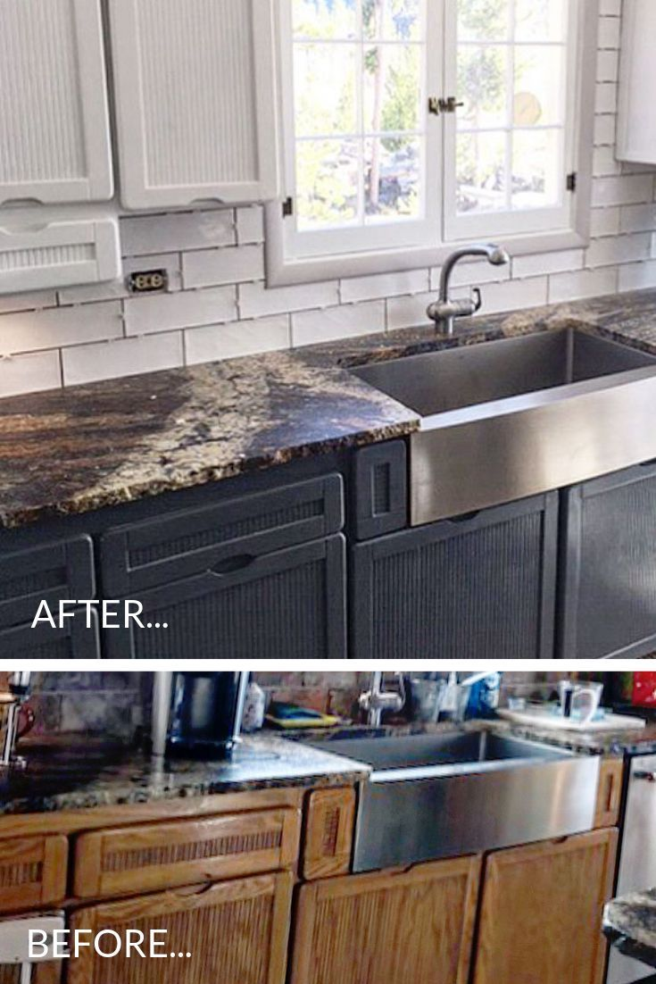 What A Difference Painted Kitchen Cabinet Transformation Using Vintage And Restore Repurposed Furniture Diy Painting Kitchen Cabinets Cheap Kitchen Cabinets