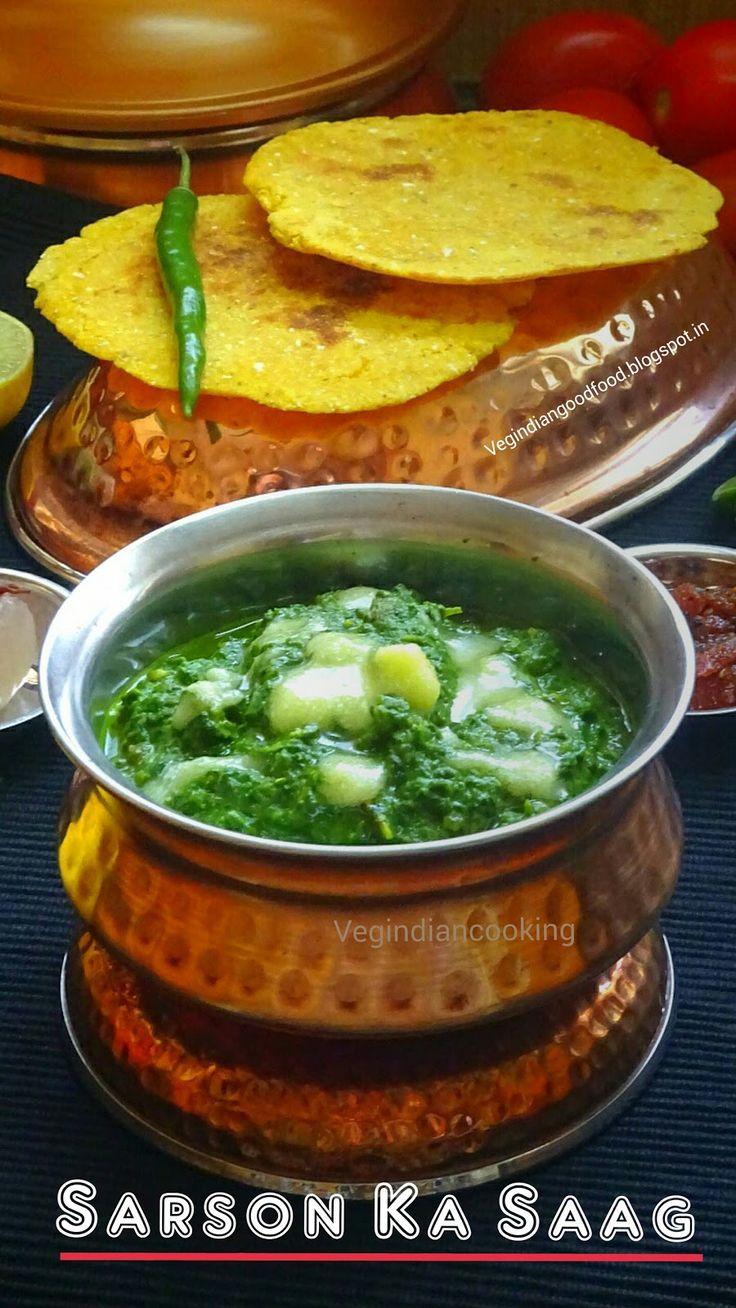 How to make Sarson Ka Saag | Punjabi Sarson Da Saag Recipe | Winter Special Mustard Greens & Other greens - #recipe #sarsonkasaag #sarson #makki #vegindiancooking #punjabifood #foodblogger #indianrecipes #indianfoodblogger #yummlicious #winterspecial
