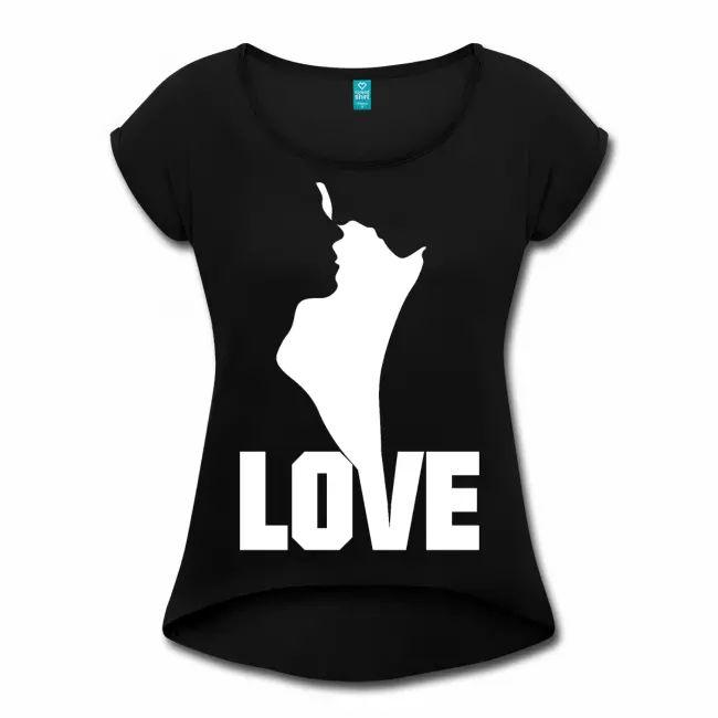 Wahre Liebe paar Mann Frau Geschenkideen Silhouette – Womens Roll Cuff T-Shirt   – >> Crazy Merch <<