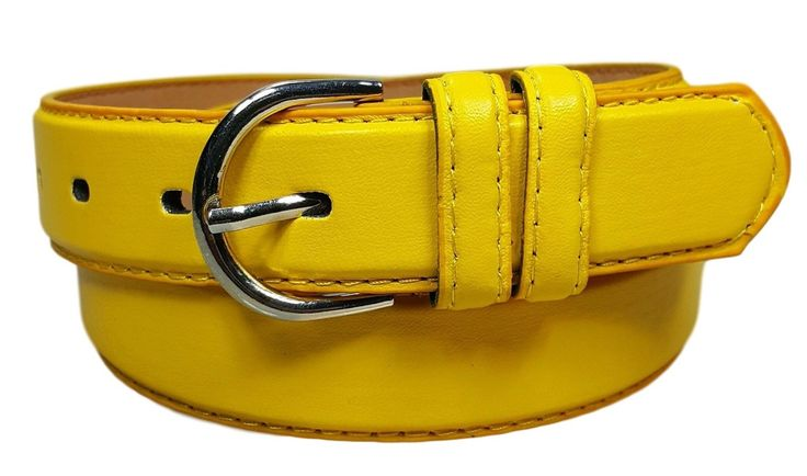 Women's Genuine Leather Casual Yellow Belt