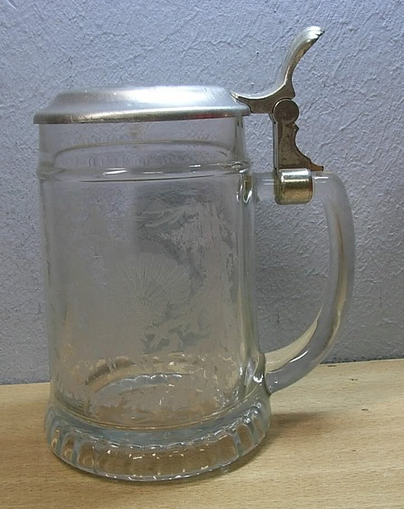 Vintage Glass beer stein with pewter lid by sassyfibersbySonja, $50.00