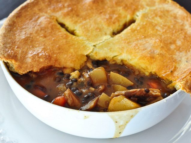 Mushroom and Lentil Pot Pie with Gouda Biscuit Crust http://www ...