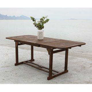 Dark Brown Acacia Wood Outdoor Dining Table
