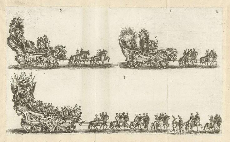 Bernard Verschoot | Drie praalwagens, genummerd 5-7, 1749, Bernard Verschoot, 1749 | Drie praalwagens of triomfwagens met allegorische figuren in de optocht bij de viering op 3 mei 1749 van het 600-jarige jubileum van de Heilig-Bloedprocessie in de stad Brugge. Blad B met de wagens genummerd 5-7. Het blad uitgeknipt en opgeplakt.