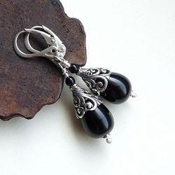 Srebrne kolczyki z onyksem. #onyx #jewelery #silver #srebro cudosfera.pl