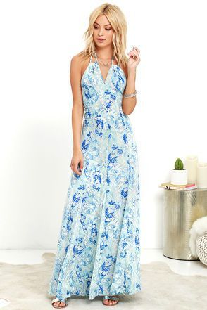 Get swept up by the Stunning Cyclone Blue Print Maxi Dress and take the world by storm! A cool blue and turquoise marbled print swirls across woven poly, shaping this halter dress with tying straps and a notched neckline. Flaring godets add the perfect amount of flare to the elegant maxi skirt. Hidden back zipper/hook clasp.