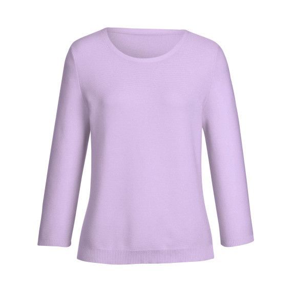 Rundhals-Pullover 3/4-Arm in Pastell-Lila.