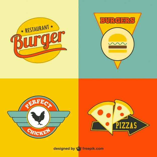 Restaurant fast food logos gratuit Vecteur gratuit