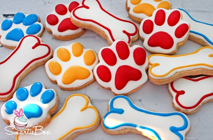 Paw Patrol Cookies, paw prints and doggie bones - SmartieBox Cake Studio