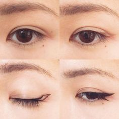 私的椎名林檎風メイク(主にアイラインの引き方)の考察。 1.小鼻と眉尻、目頭と目尻、それぞれの延長線で交差する所に点を打つ。目立たないようにリキッドアイブロウやアイブロウペンシルでやるといいと思います。 2.正面を向いて目を開いたまま黒目の端(目尻側)とさっき打った点、目尻からさっき打った点を繋げる。線を引く時は目を開いたままやるのがポイントです。 3.目を閉じると平行四辺形のような形になります。黒いアイライナーで先程引いた線をなぞり塗り潰します。目頭から目尻にかけて細くアイラインを引いて下さい。睫毛の隙間も埋めるといいと思います。 4.軽くビューラーをして黒いマスカラを目尻重視で塗り、目尻につけまつげをつけたら完成です。目頭の切開ラインはお好みで。 ベースメイクは素肌っぽく少し艶のある物がいいと思います。眉は明るめで細く。唇はコンシーラーやファンデーションで軽く色を消し、透明なグロス、もしくは淡いベージュのグロスを軽く塗ります。 以上です。解りづらかったらすみません。何かありましたらお訊き下さい。 #メイク#化粧#考察#椎名林檎#椎名林檎風#アイライン#makeu...