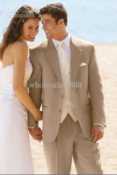 Wholesale Custom Design Two Buttons Beige Groom Tuxedos Best Man Notch Lapel Groomsmen Men Wedding Suits Bridegroom (JacketPantsTieVest) H652, Free shipping, $118.0/Piece | DHgate