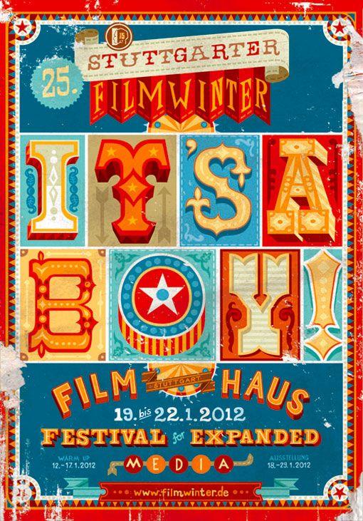 Stuttgarter: Vintage Posters, Posters Series, Film Festivals, Festivals Posters, Apfel Zet, Vintage Circus, Posters Design, Graphics Design, Stuttgart Filmwint