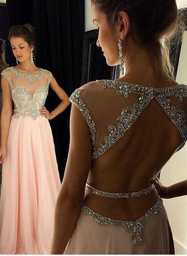 PINK PROM DRESSES O NECK EVENING DRESSES BACKLESS PARTY DRESSES