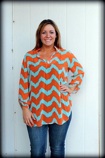 plus size, chevron blouse, turquoise and orange, XL 2XL 3XL