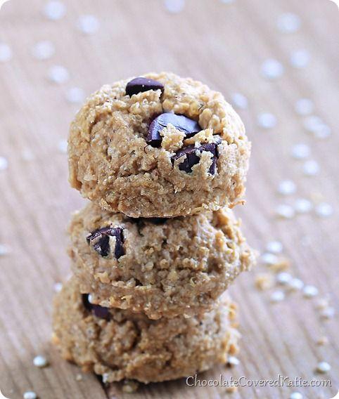 Secret Chocolate Chip Quinoa Cookies: http://chocolatecoveredkatie.com/2014/02/26/chocolate-chip-quinoa-cookies/