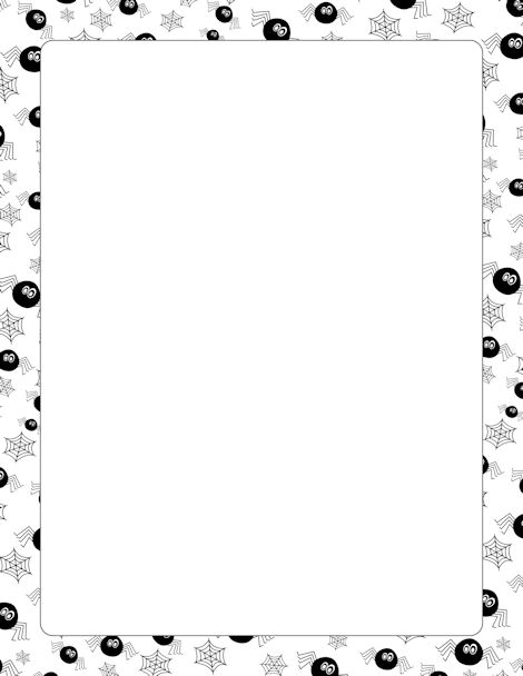 A page border featuring spiders and spider webs. Free downloads at http://pageborders.org/download/spider-border/