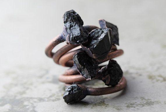 Black Tourmaline Ring Electroformed Copper Ring by CoastalAlchemy
