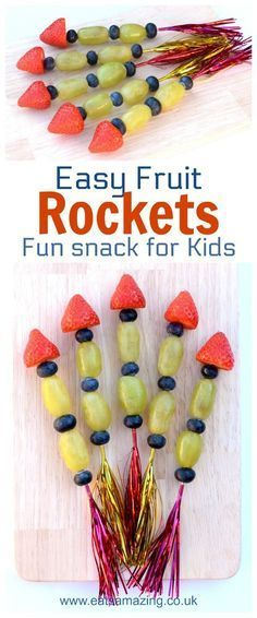 Easy Fruit Rockets - Fun snack for kids - perfect for New Year parties and bonfirenight night - Eats Amazing UK #kidsfood #funfood #foodart #bonfirenight #newyear #snack