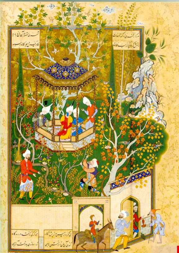 """Persian Miniature Painting: A City Dweller Desecrates a Garden I have been studying a possible attribution of this this miniature to Abdollah-e Mozahheb. Previously it has been attributed to an unnamed artist who Stuart Cary Welch labeled """"Painter D"""".2. I certainly stop short of attributing all the Painter D works to Abdollah-e Mozahheb but I fail to see the unity of origin for the group that Welch saw. This work is typical of the work of Abdollah-e Mozahheb, In some areas such as the roof…"""