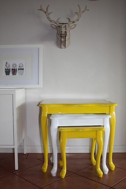 yellow and white striped nesting tables (SD Interiors)