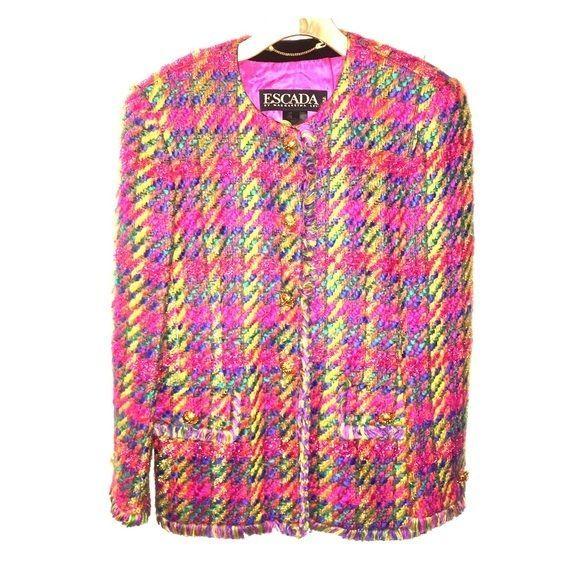 Escada blazer size 38 8 multicolor plaid statement designer women's jacket suit  #ESCADA #blazer