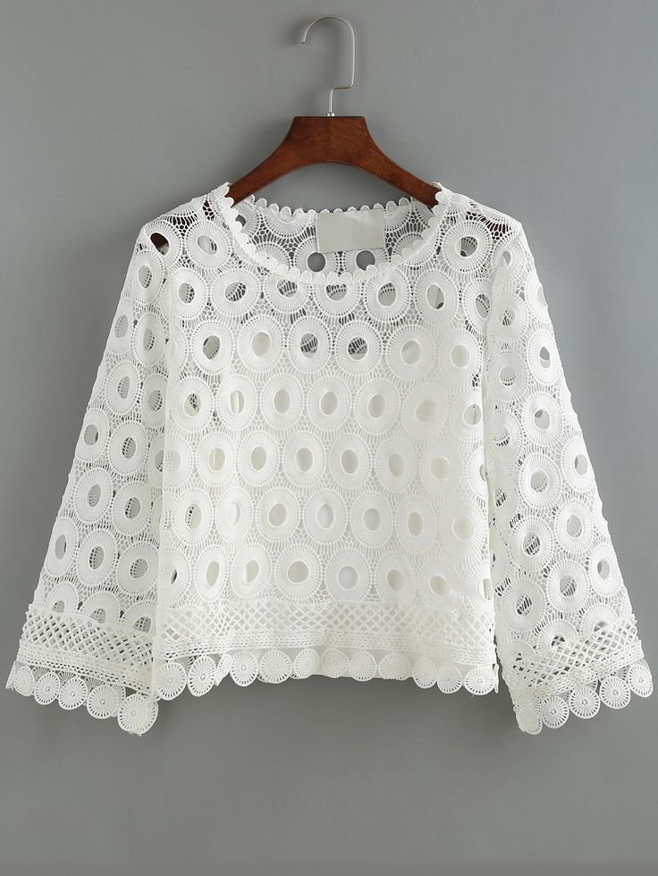 White Round Neck Hollow Lace Crop Blouse.    -SheIn