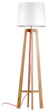"""65"""" Four-legged Wood Floor Lamp with Bell Shade contemporary floor lamps"""