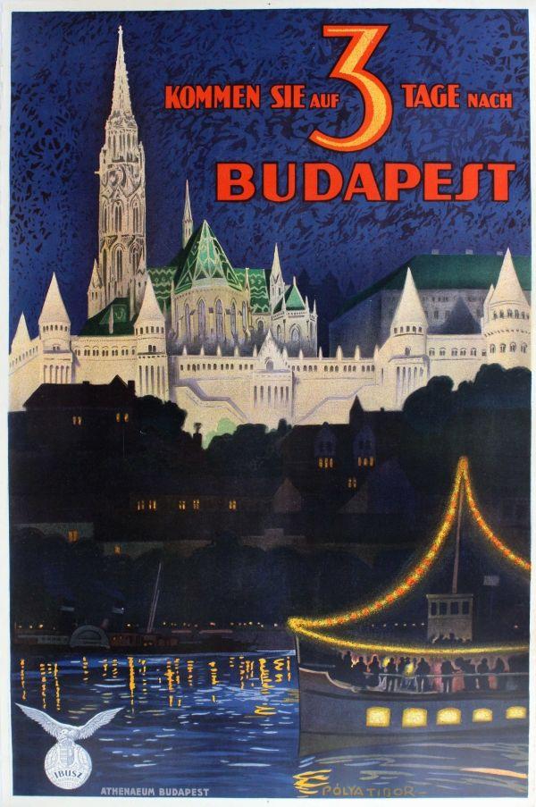 Eredeti vintage plakátok -> Utazási Plakátok -> Budapest IBUSZ Pólya Tibor - AntikBar