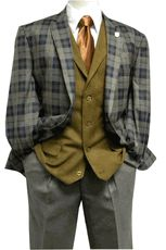 Stacy Adams Mens Gray Plaid Bally Vest 1920s Style Suit 5318 IS - click to enlarge