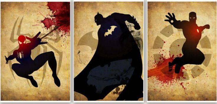 3pcThe Avengers, Superheld Retro-Set, handgemachtes modernes abstraktes Ölgemälde-Segeltuch-Kunst-Wand-Bild Set