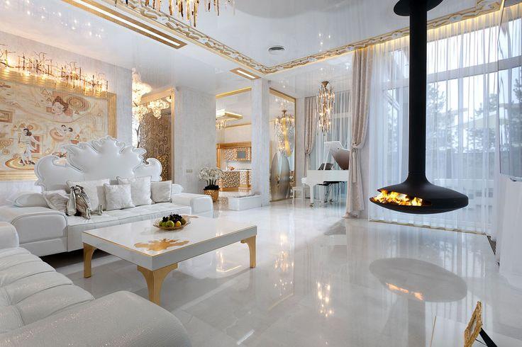 Huis Interieur › Luxe En Unieke Moderne Woonkamer Met Een Bank En Een Open Haard Door Victoria Faynblat › Glamour en Luxe Woonkamer en Interieur Ideeën door Victoria Faynblat