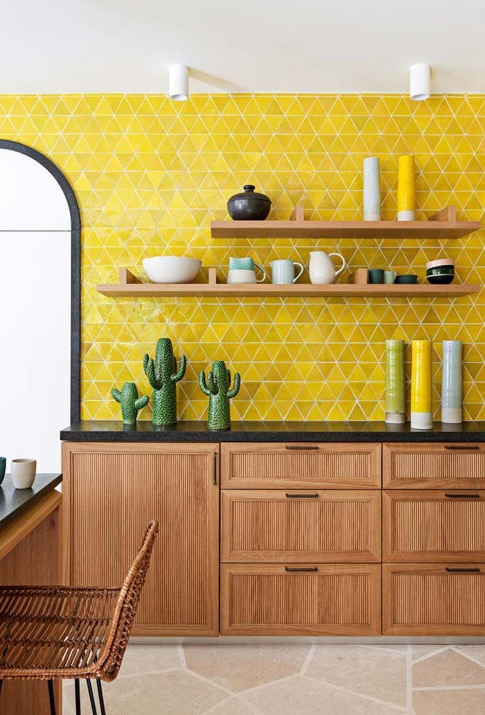 Adding A Kitchen Accent Wall To Your Home Is The Perfect Way To Spice Up The Space Without B Yellow Kitchen Designs Yellow Kitchen Walls Accent Wall In Kitchen