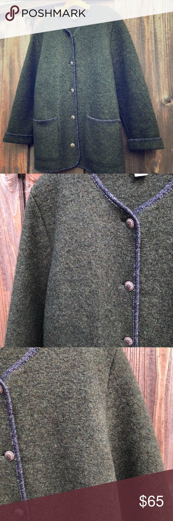 """Vintage LL Bean Green Wool Coat Austria 14-16 L Gorgeous green vintage boiled wool coat. Made in Austria. You won't get cold in this! Size Large women's. Perfect vintage condition and well cared for. No holes, stains etc. Features large metal buttons with spare button  sewn into inside seam.   Length 31"""" Shoulder to cuff sleeve 25"""" Neck to shoulder 6"""" Bust 19"""" measured armpit to armpit flat across (48"""") Armpit to cuff measures 16"""" Shoulder to shoulder seam 16"""" flat across  Non smoking home…"""