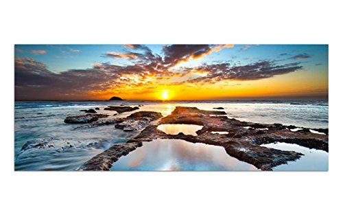 Acrylic Glass Picture AG312500417 MURAL Sun &HORIZONT 125 x 50 CM Art Print in XXL FORMAT with Hanging-Up system / HANDMADE / Living room / office / direct, LIFESTYLE! Image No Painting or Poster-Tiefpreis!