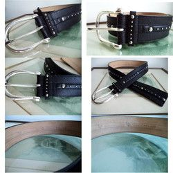 MICHAEL KORS silver stud BLACk Medium LEATHER WIDE belt 552632 Western Hipster