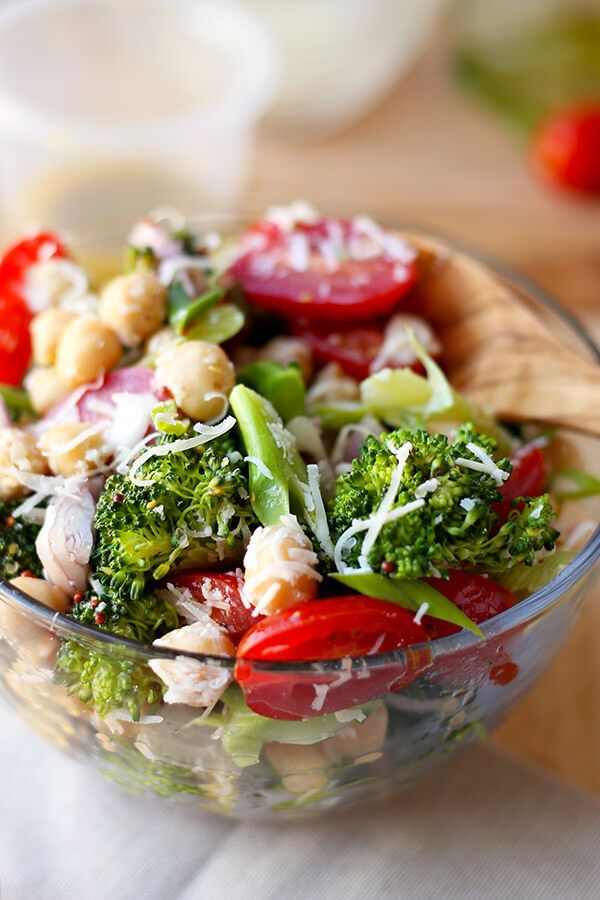 Warm Broccoli and Chickpea Salad - This is a simple and healthy warm broccoli and chickpea salad tossed in a grain mustard and red wine vinaigrette. It's the perfect Italian inspired dish to serve with pasta or pizza - and it only takes 15 minutes to make from start to finish! Healthy, Easy, Gluten Free, Recipe | pickledplum.com