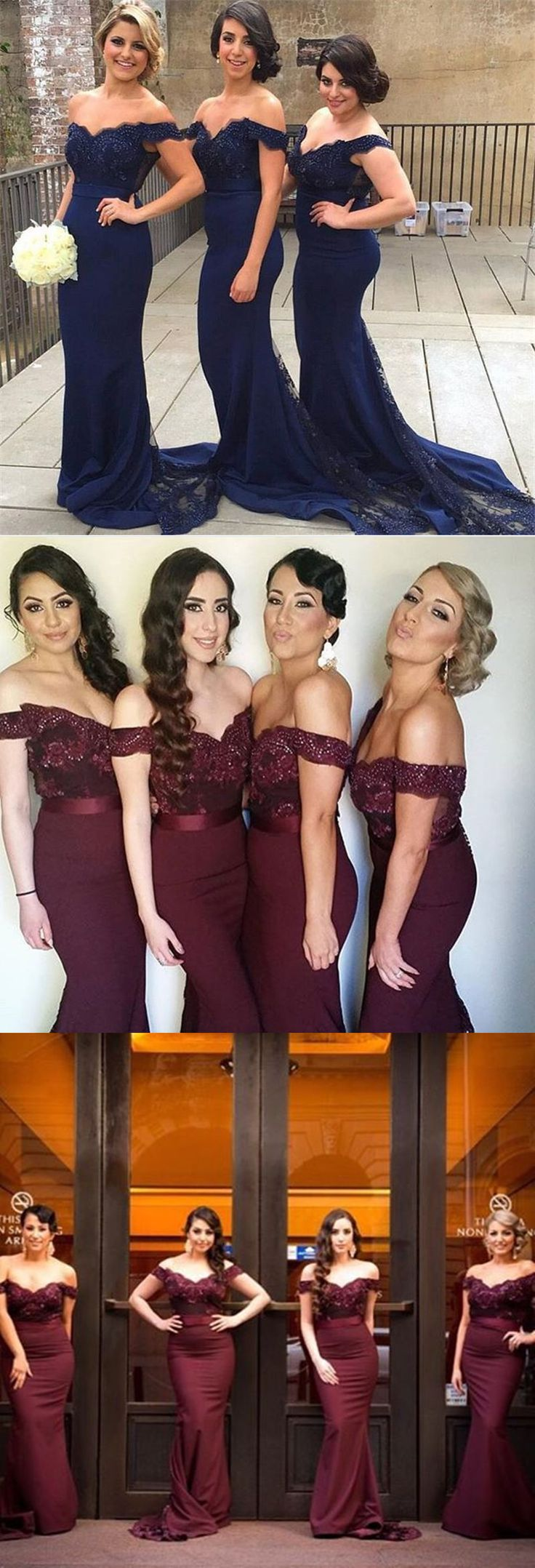 Navy Blue bridesmaid dress,Mermaid bridesmaid dress,Off shoulder lace bridesmaid dresses Burgundy bridesmaid dress long 2016