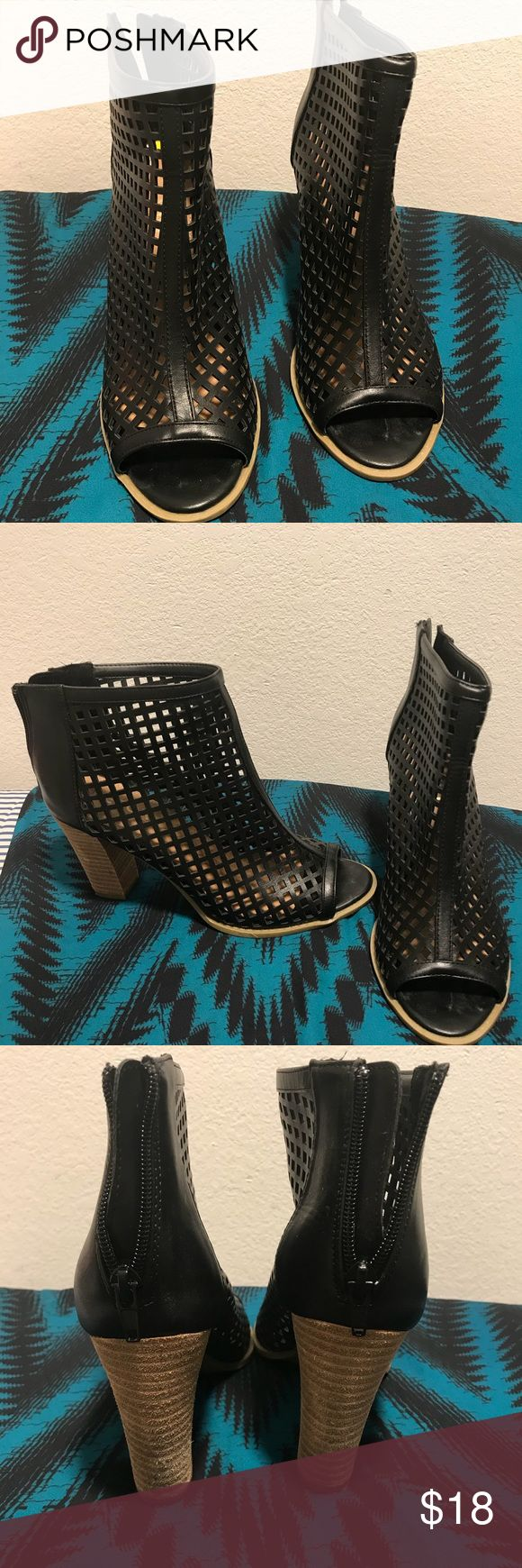 Ankle booties with zip up back black 9 Fun peep toe shoe goes with jeans, dresses, or skirts. Wore only once. Excellent condition. Report Shoes Ankle Boots & Booties