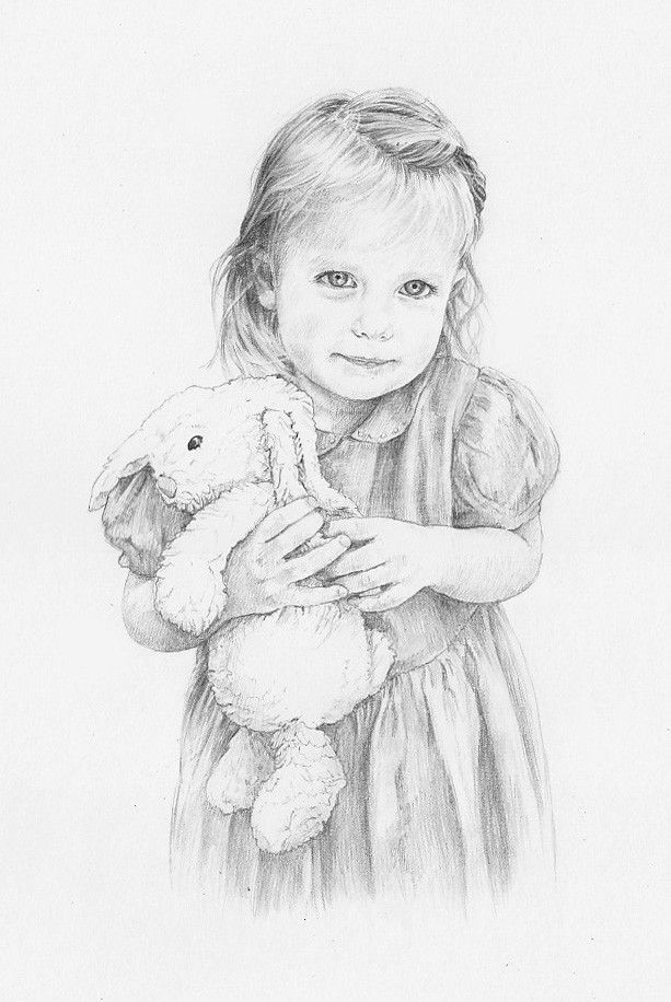 Beautiful pencil drawing portrait of Daisy by artist Anna Bregman