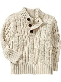Cream Coloured Cable Knit Sweater For Boys Casaco De