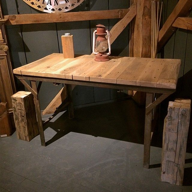 This reclaimed work table base from the Biltmore Hat Factory in Guelph, ON  has a top made from reclaimed White Oak. It's beautiful! #reclaimed #interiordesign #rusticdesign