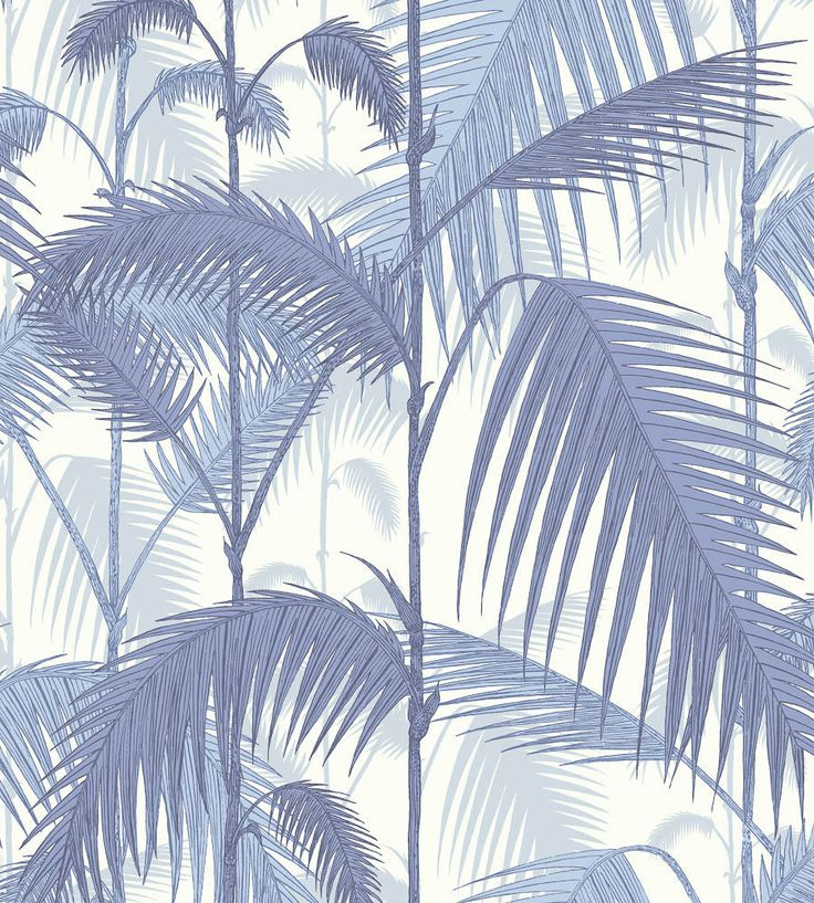 Papel pintado palmeras selva azul | telas & papel