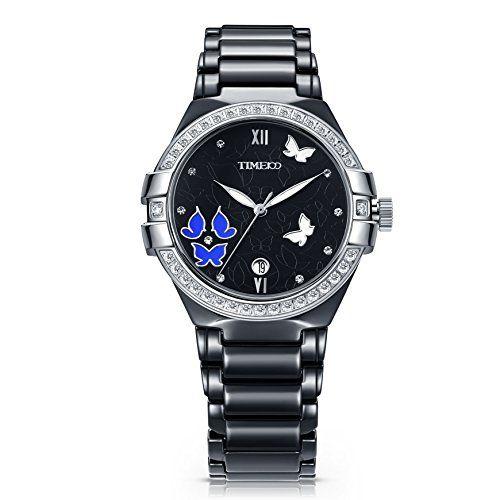 Time100 Montre à quartz femme étanche incrustée de strass sculptée papillon calendrier mode de luxe bracelet céramique noir W50354L.01A Price:      Notes:  Neuf carreaux magiques: L'idée de cette montre vient de la figure géométrique et aussi une cons...