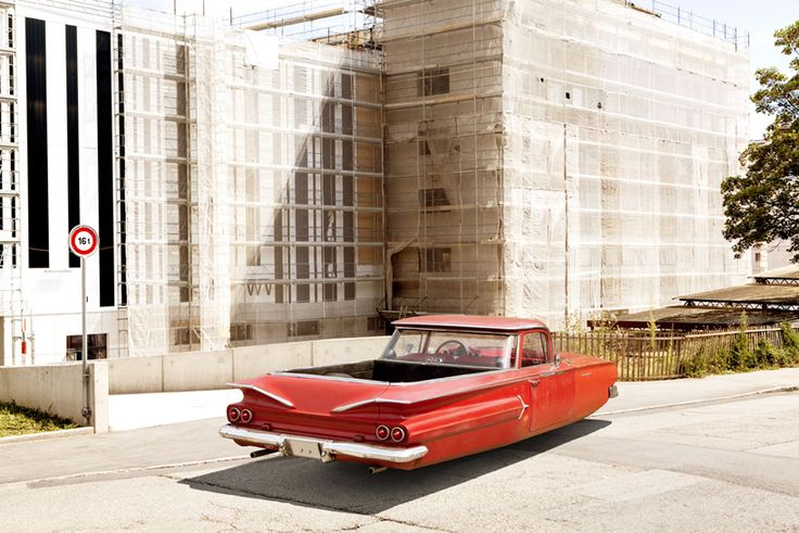 By capturing scenes of floating old-school cadillac and mercedes-benz's, french photographer  renaud marion portrays a jetsons-type future of how vehicles would have seemed to him in the  2000s as a child in 'air drive'.